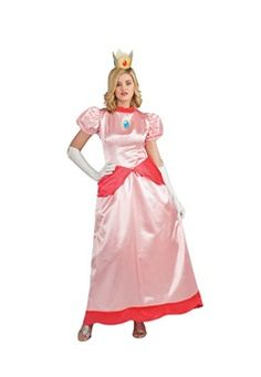 Rubies Adult Deluxe Princess Peach Costumes Contains Dress, crown and gloves