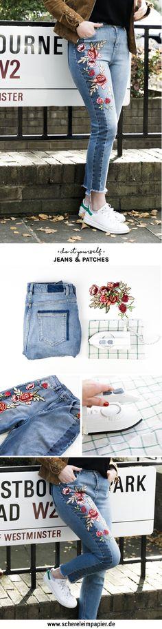 Jeans pimpen DIY: Jeans mit Patches / Bügelbildern verschönern - eine einfache Idee, eine simple Jeans mit Blumen etc. zu personalisieren und zu verschönern - Video Anleitung auf dem DIY Blog!