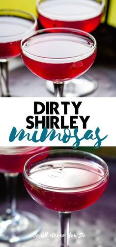 Dirty Shirley Mimosas are a super fun twist on a classic mocktail. Make this fun boozy drink the next time you are in the mood for something fruity and sweet! Sweet Cocktails, Best Cocktail Recipes, Sangria Recipes, Drinks Alcohol Recipes, Non Alcoholic Drinks, Fun Drinks, Yummy Drinks, Drink Recipes, Cocktails 2018