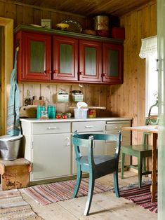 BREAKFAST: The kitchenette is small, but more than good enough for a quick breakfast, if the weather indicates that it must be taken indoors. The kitchen counter is from the Scandinavian Home, Kitchen Cabinets, Furniture, Kitchen, Indoor, Interior, Kitchen Counter, Kitchenette, Home Decor