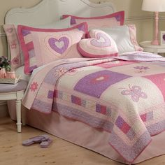 Found it at Wayfair - Spring Hearts Quilt with Pillow Sham