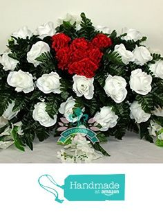 Beautiful XL White Roses With Red Heart Carnations Cemetery Arrangement from Crazyboutdeco Deco Mesh Wreaths,Cemetery Arrangements https://www.amazon.com/dp/B01N4HDQAV/ref=hnd_sw_r_pi_dp_pU5Qyb7R8916G #handmadeatamazon