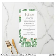 Shop Cactus fiesta succulent wedding menu created by Writelovely. Cactus Wedding, Wedding Menu Cards, Grilled Salmon, Perfect Wedding, Wedding Colors, Succulents, Fiestas, Cards