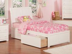 Portland White Wood Twin Bed w/Flat Panel Footboard