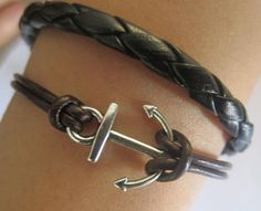 Bracelet--antique silver anchor bracelet & double wax string chain. $3.50, via Etsy.