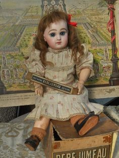 All Original French Bisque Bebe Jumeau with Factory Box - WhenDreamsComeTrue #dollshopsunited