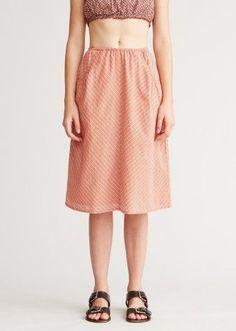 b952456a9c CARAMEL, Gathered Woman Skirt, Mandarine Check Medical Uniforms, Caramel,  Midi Skirt,