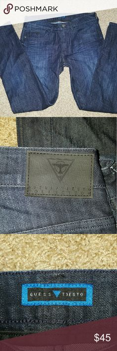 Men's Tiesto Collection Guess Jeans Tiesto Collection men's dark wash skinny style jeans. Like-new condition. Zipper detail back pockets. Not distressed. Guess Jeans Skinny