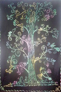 «Кружевная весна»,  «Летний день»,  «Сказка зимнего леса» (граттаж). Мастер-класс Фото