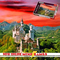 """Now Online! The Neuschwanstein Castle is a luxurious Romanesque palace created for the purpose of King Ludwig II of Bavaria's vacation home. His home has been a tourist attraction since his death in 1886. And now you yourself can feel like royalty by piecing together The Neuschwanstein Castle 2000-Piece Jigsaw puzzle!  Finished puzzle size: 38"""" x 27""""  The Neuschwanstein Castle 2000-Piece Jigsaw contains 2000 puzzle pieces and is recommended for ages 12 and up."""