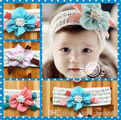 f30b4ab06bd Pretty baby Hair Accessories For Infant Baby Lace Big Flower Bow Princess  Babies Girl Hair Band Headband Baby s Head Band Kids 10pcs