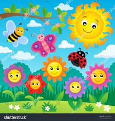 Happy flowers topic image 4 - Buy this stock vector and explore similar vectors at Adobe Stock Kids Wall Murals, Art Wall Kids, Space Crafts For Kids, Art For Kids, Garden Fence Art, Monkey Crafts, Wall Painting Decor, Spring Coloring Pages, Ladybug Crafts