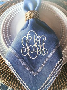 Monogrammed napkins Monogrammed Napkins, Linen Napkins, Monogram Styles, Monogram Fonts, Vintage Modern, Embroidery Monogram, Embroidery Designs, Linens And Lace, Table Linens