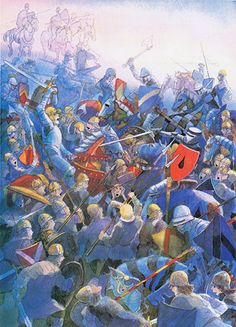 Michael Foreman.  From Arthur, High King of Britain  Foreman uses a lot of blue in his illustrations, and in this battle scene the flashes of orange capture the clash of sword on shield as, in the foreground, a knight is felled by a jauntily striped spear