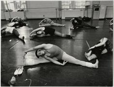 Students stretching in dance class in Kendall Hall :: Archives & Special Collections Digital Images :: circa 1967-1968