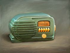 Belmont Bakelite Radio circa 1940 original art by Chester deWitt Rose 2012
