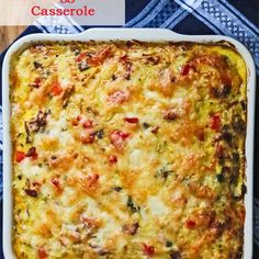 Healthy Bacon Egg Potato Breakfast Casserole Recipe Breakfast and Brunch with olive oil, onion, red bell pepper, mushrooms, garlic, turkey bacon, fines herbes, large eggs, nonfat cottage cheese, reduced fat sharp cheddar cheese, yukon gold potatoes, baby kale