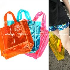 Clear Jelly see through vinyl plastic PVC transparent satchels ...