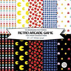 Pac-man Seamless Patterns, Digital Gaming Paper Pack Pacman Arcade Gift Wrap, Digital Scrapbook Paper Pack, Blog Wallpaper Digital Wallpaper