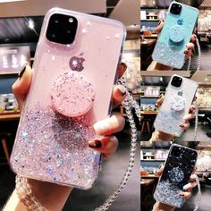 Bling Glitter Case With Stand Holder For iPhone 11 Pro Max XR X XS Max 6 7 8 Plus - Iphone cases - Phoneaccessories 2020 Girly Phone Cases, Iphone Phone Cases, Iphone Case Covers, Unique Iphone Cases, Iphone Charger, Iphone 8 Plus, Iphone 11, Apple Iphone, Telefon Apple