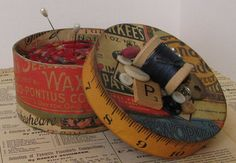 Vintage look wool pin cushion box by willowpaige on Etsy, $20.00