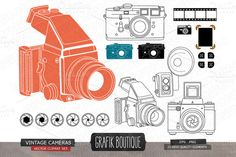 Check out Vintage cameras, photo frame by GrafikBoutique on Creative Market