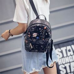 This Universe Space Backpack is on the smaller side which makes it perfect for amusement parks, festivals, hikes and all the other adventures life may bring! Purses And Handbags, Fashion Handbags, Fashion Bags, Fashion Backpack, Cheap Handbags, Dior Handbags, Wholesale Handbags, Backpack For Teens, Small Backpack