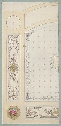 "Design for painted decoration of wall or ceiling panels, including the word ""Frascati"" Jules-Edmond-Charles Lachaiseб French"