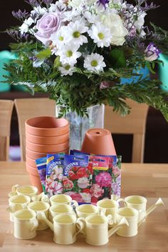 garden flowers birthday party! Kyras 2nd birthday! Plant your own flower pot as a activity and gift in one!