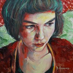 "Brianna Angelakis ""A Portrait of A​mélie"" oil on canvas 12"" x 12"" $700 Payment…"