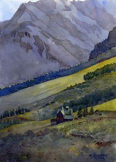 """Last Dollar Road II by Richard Sneary Watercolor ~ 14"""" x 10"""""""