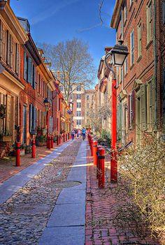 Elfreth's Alley, historic Philadelphia, PA