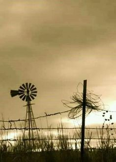 A Nebraska windmill sitting alone, silent and still. Farm Windmill, Old Windmills, Old Fences, Country Scenes, Le Far West, Water Tower, Old Barns, Le Moulin, The Ranch