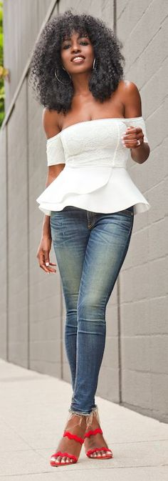 White Bare Shoulders Peplum Top by Style Pantry