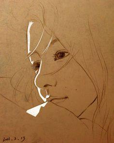 关十人 的插画 川岛海荷 Pencil Art Drawings, Drawing Sketches, Figure Painting, Painting & Drawing, Pen Art, Portrait Art, Drawing Portraits, Art Sketchbook, Amazing Art