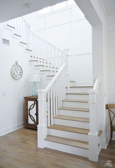 Vacation Recap to Watercolor, FL White staircase with grid patte. Vacation Recap to Watercolor, FL White staircase with grid pattern beach house decor beach house design coastal house design wooden handrail on Beach Cottage Style, Coastal Cottage, Beach House Decor, Home Decor, Beach Houses, Beach Cottages, Coastal Decor, Tiny Cottages, Cottage Living