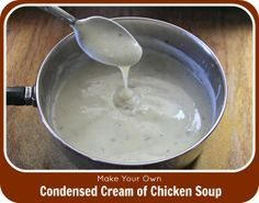 Use this condensed cream of chicken soup recipe as a substitute for the canned version  in your signature recipes. Smooth. Creamy. Delicious....