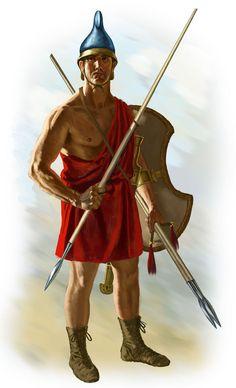 ARMAS na IDADE MÉDIA: o Arco - Armadura -  Besta -  Escudo -  Espada - Lança - Machado de guerra. Na gravura - peltastes, eram armados com dardos. Os dardos eram  arremessados antes das duas frentes se envolverem no combate corpo-a-corpo.
