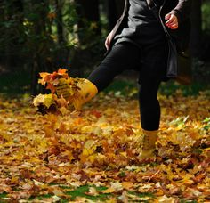 playing with autumn leaves. and raking them in a big pile just to jump in them. and making leaf angels. love it all!