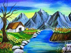 How to Draw Bridge - Drawing 3D Bridge - Trick Art - YouTube Beautiful Paintings Of Nature, Nature Paintings, Scenery Paintings, Landscape Paintings, Watercolor Paintings, Art Paintings, Poster Color Painting, Poster Colour, Easy Pictures To Draw