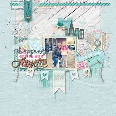 love the #blue in this #scrapbook page by Kayleigh Wiles at DesignerDigitals.com #shopDesignerDigitals