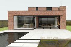 Modern Brick House, Brick House Designs, Wood House Design, Minimal House Design, Modern Small House Design, Green House Design, Rustic Home Design, Minimal Home, Industrial Design