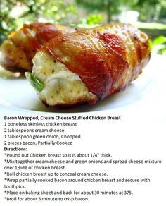 Chicken Recipes Bacon Wrapped, Cream Cheese Stuffed Chicken Breasts - thinking to add jalapeño . Low Carb Recipes, Cooking Recipes, Healthy Recipes, Game Recipes, Healthy Food, R Cafe, Cream Cheese Chicken, Breast Recipe, Atkins