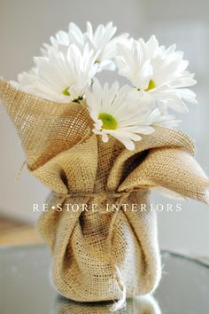 Burlap vase made w/ a potato chip can