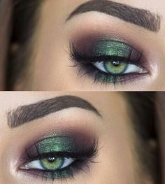 Happy St. Patrick's Day! In love with the green and gold looks of today! ❤️ Feeling lucky? Find your gold-at-the-end-of-the-rainbow look on our website at mghairandmakeup.com or check out our Facebook page: MG Hair and Makeup! #repin #love #mglove #weddinggoals #beauty #bridallooks #bridalhair #bridalmakeup - Green and purple halo eye