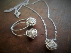 Sterling Silver Knotted Earring and Necklace Set - NE02 - pinned by pin4etsy.com