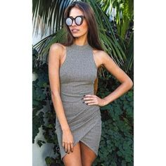 Elegant Gray Sleeveless Knitted Casual Dress - Stella La Moda