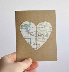 19 Adorable Gifts For Your Long Distance  A card with a heart made out of both your city's maps, perfect for any occasion.