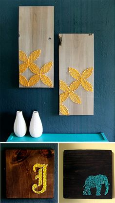 Love this for artwork on the wall, nail and string on wood