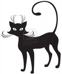 La silhouette de chat gracieux noire Banque d'images